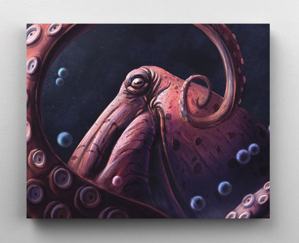 Animal portrait: Pink, Giant Pacific Octopus moving tentacle with bubbles rising around him. Canvas wall art in room.