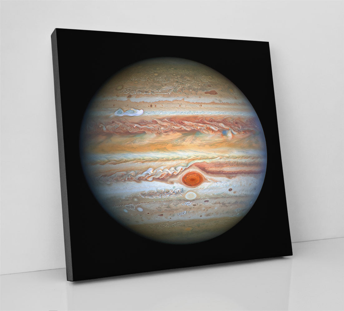 The full planet Jupiter, as seen in space. NASA image. Canvas wall art in room.