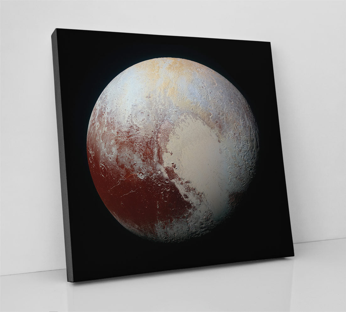 Planet Pluto, as imaged in high resolution by the Juno NASA probe. Canvas wall art in room.