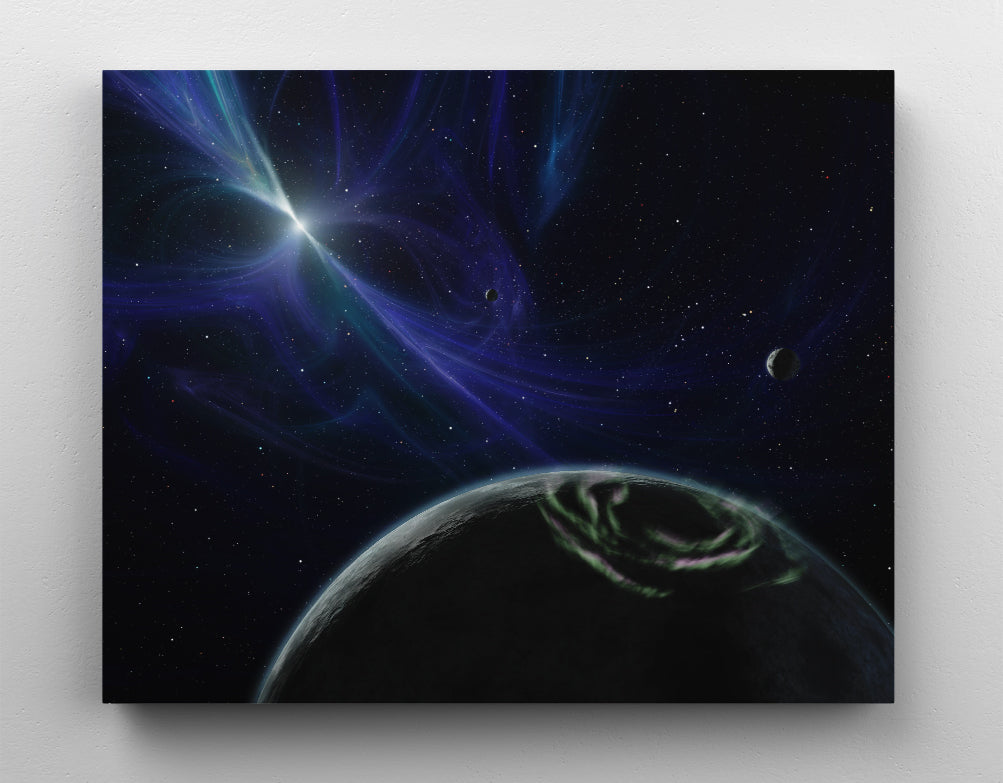 Pulsar planetary system in outer space with magnetic field lines, canvas wall art in room.