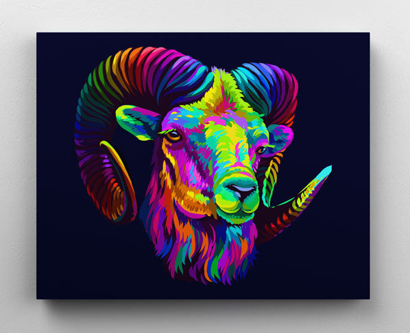 Rainbow mountain sheep animal, canvas wall art in room.