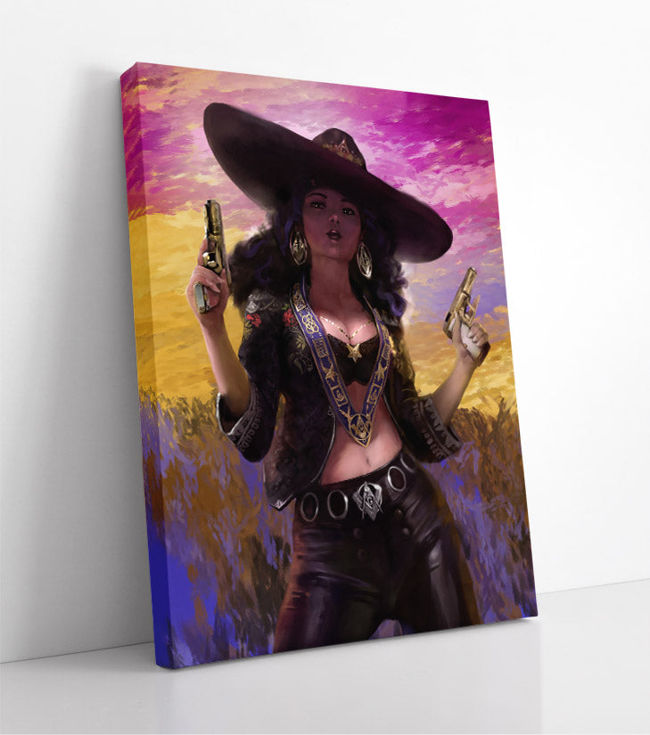 Sexy Mexican bounty hunter woman wearing all black, including a sombrero, holds two pistols on a colorful background. Canvas wall art in room.