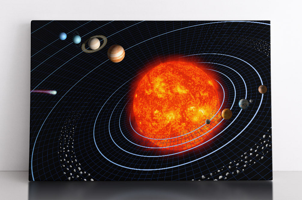 A model of our solar system, with the planets orbit the sun. Also includes the asteroid belt and a comet. Canvas wall art in room.