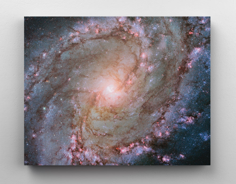 SOUTHERN PINWHEEL GALAXY (M83), canvas art in room. Hubble telescope image of the spiral Southern Pinwheel Galaxy in outer space.