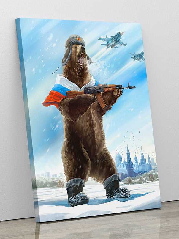 """""""Soviet Bear Soldier"""", as a poster or canvas wall art."""