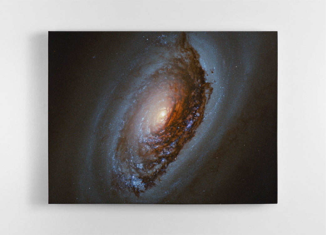 The Black Eye Galaxy (M64), Hubble Space Telescope image. Canvas wall art in room.