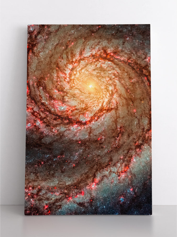 The Whirlpool Galaxy (M51), close up Hubble Space Telescope image. Canvas wall art in room.