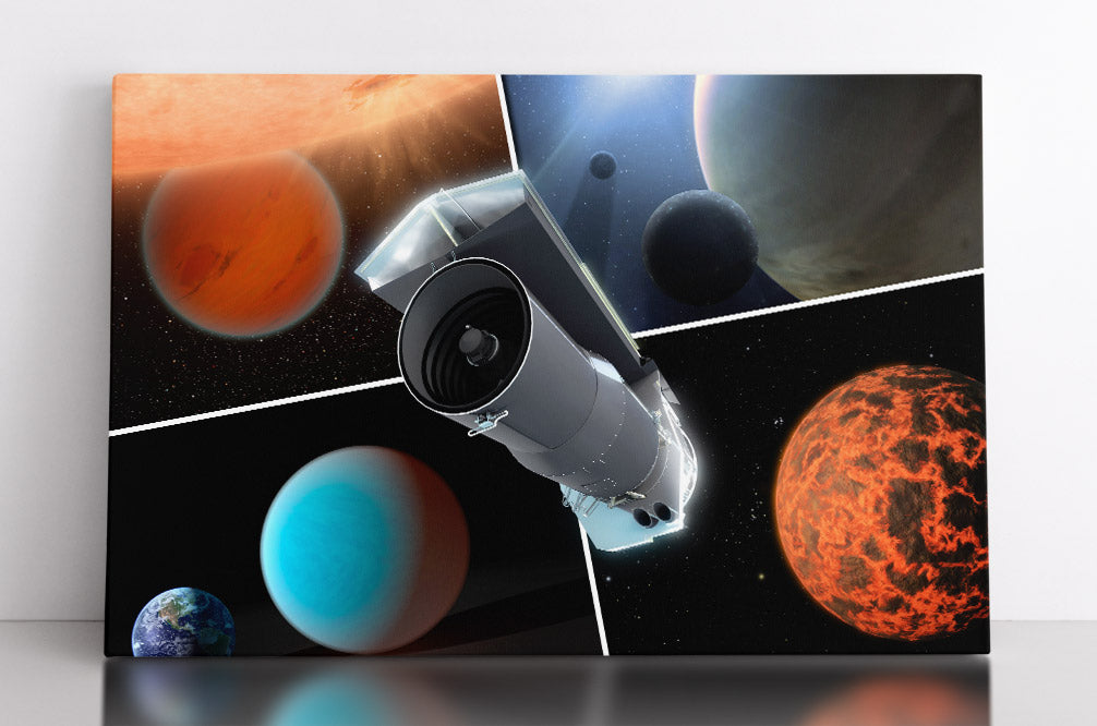 The Spitzer Space Telescope, center, with four artist illustrations of alien planet scenes in four quadrants. Canvas wall art in room.