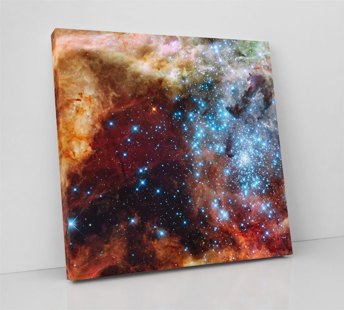 Stellar Grouping R136, dense star cluster with gas clouds. Hubble Space Telescope image. Canvas wall art in room.