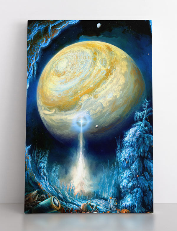 Frozen alien moon and planet. Astronauts celebrate Christmas, as energy beam shoots towards planet. Canvas wall art in room.