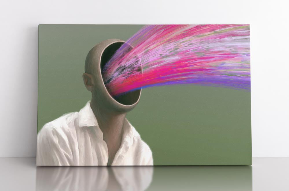 Surreal portrait of hollow man with no face. Pink and purple aura streams out of him. Canvas wall art in room.