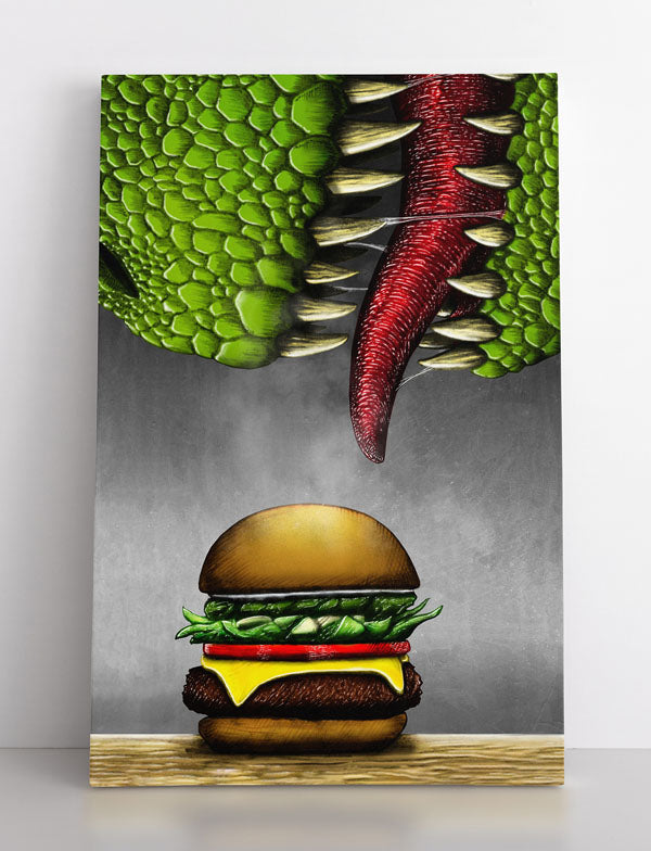 Canvas wall art in room, featuring a huge T-rex dinosaur eating a cheeseburger.