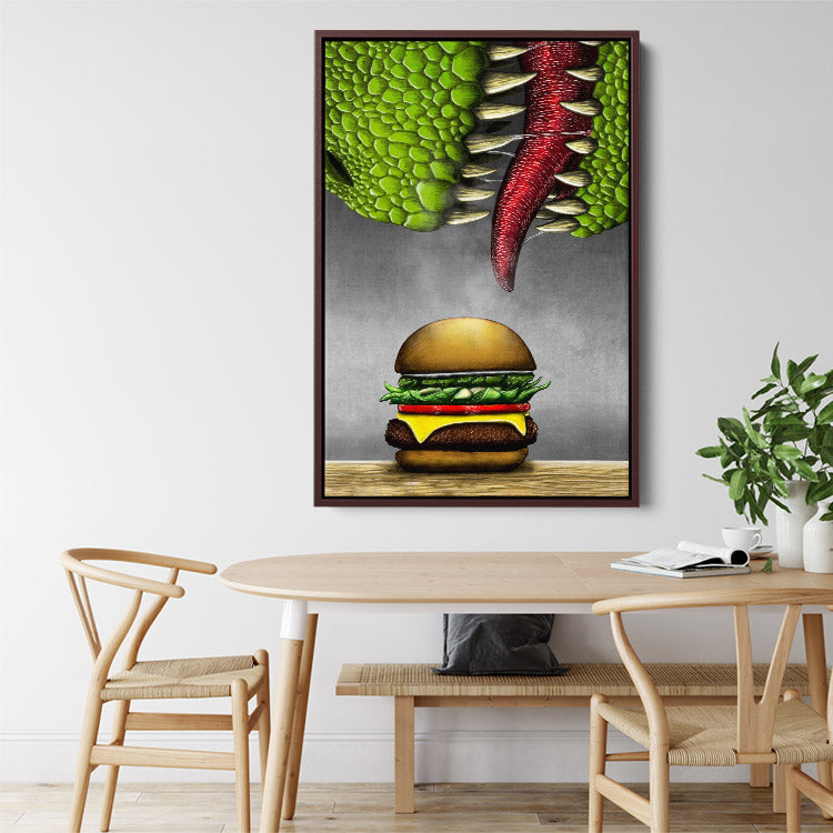 T-rex dinosaur eats cheeseburger, framed canvas art in kitchen.
