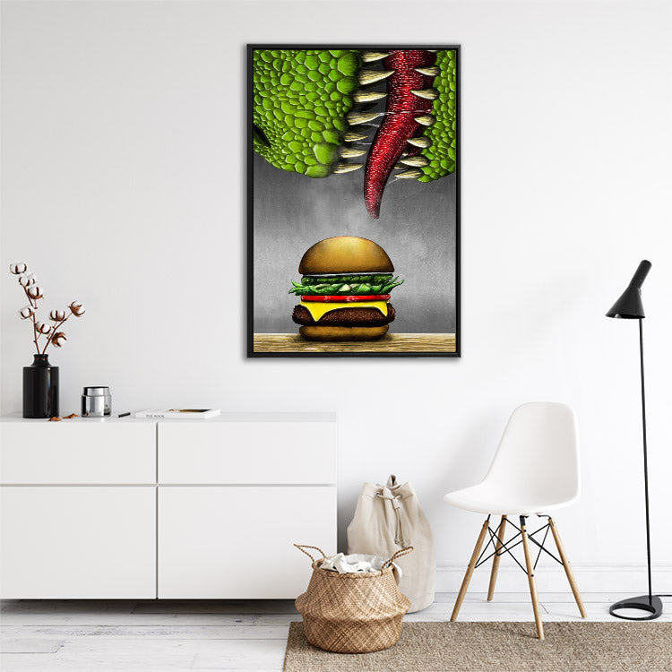 T-rex dinosaur eats cheeseburger, funny framed canvas wall art in room.
