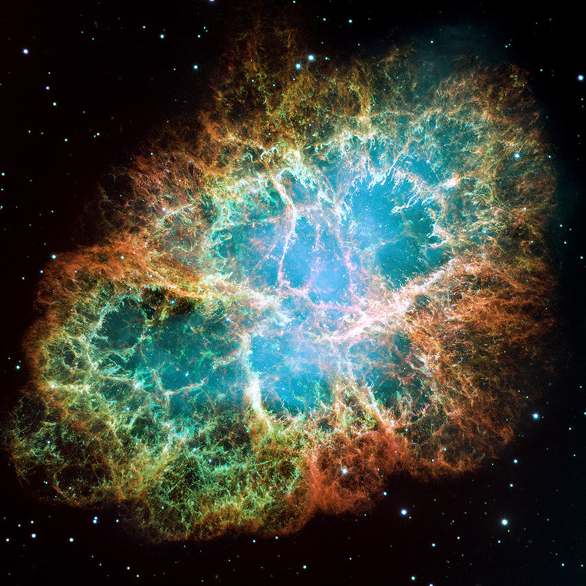 The Crab Nebula (M1/NGC 1952), supernova remnant, as imaged by the Hubble Telescope.