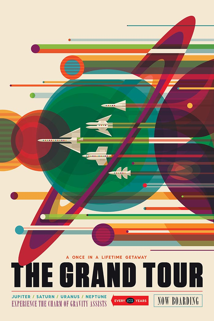 The Grand Tour, retro space travel ad inviting us to explore the planets of the solar system.