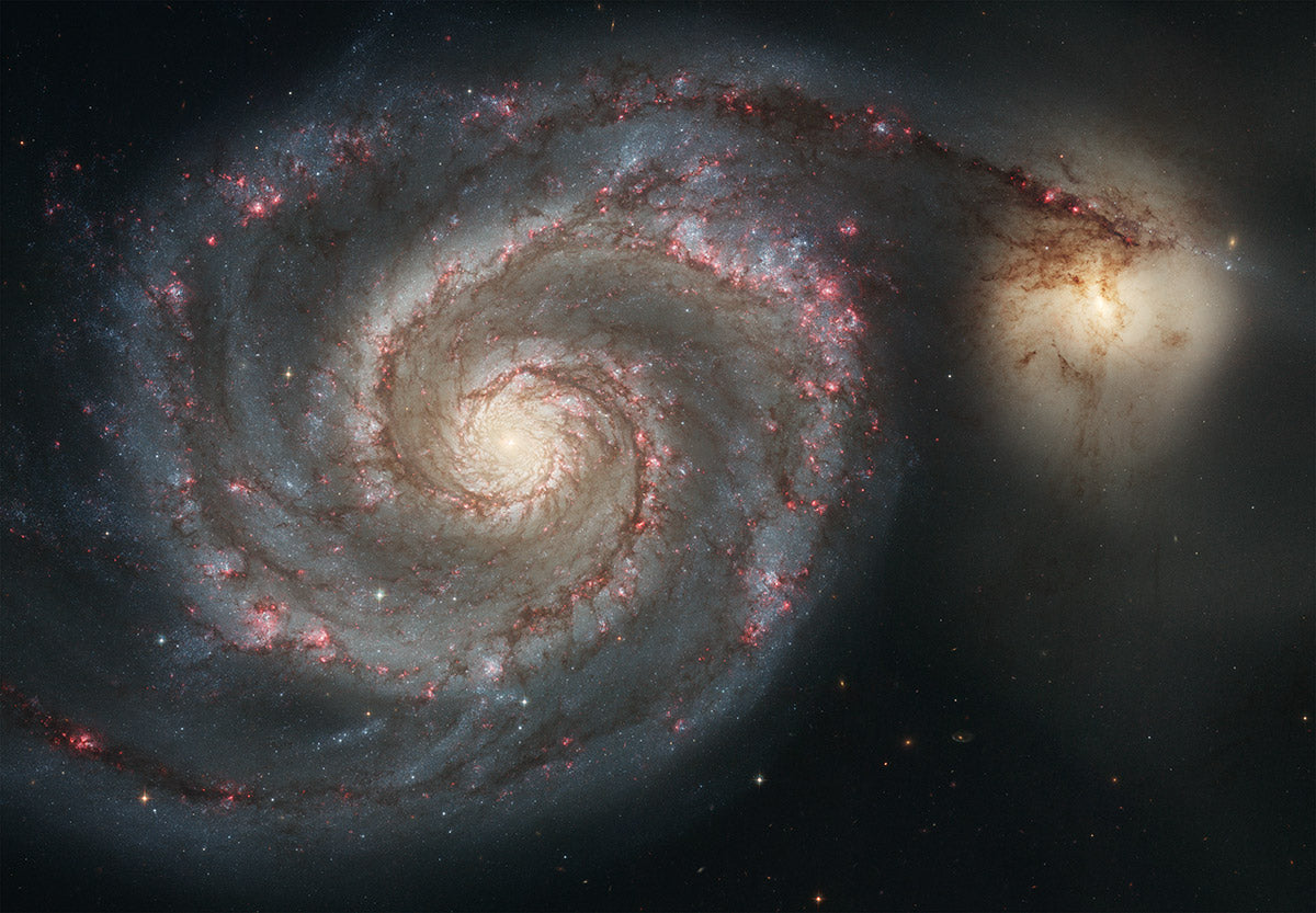 The Whirlpool Galaxy (M51) and its companion galaxy, as imaged by the Hubble Telescope
