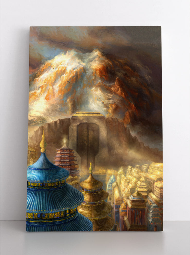 Fantasy landscape scene of Tibetan mountain above ancient city surrounded by huge gates. Canvas wall art in room.
