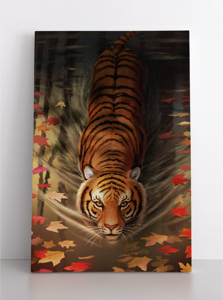 Tiger swimming towards you in a pond, surrounded by autumn leaves on the water's surface. Canvas wall art in room.
