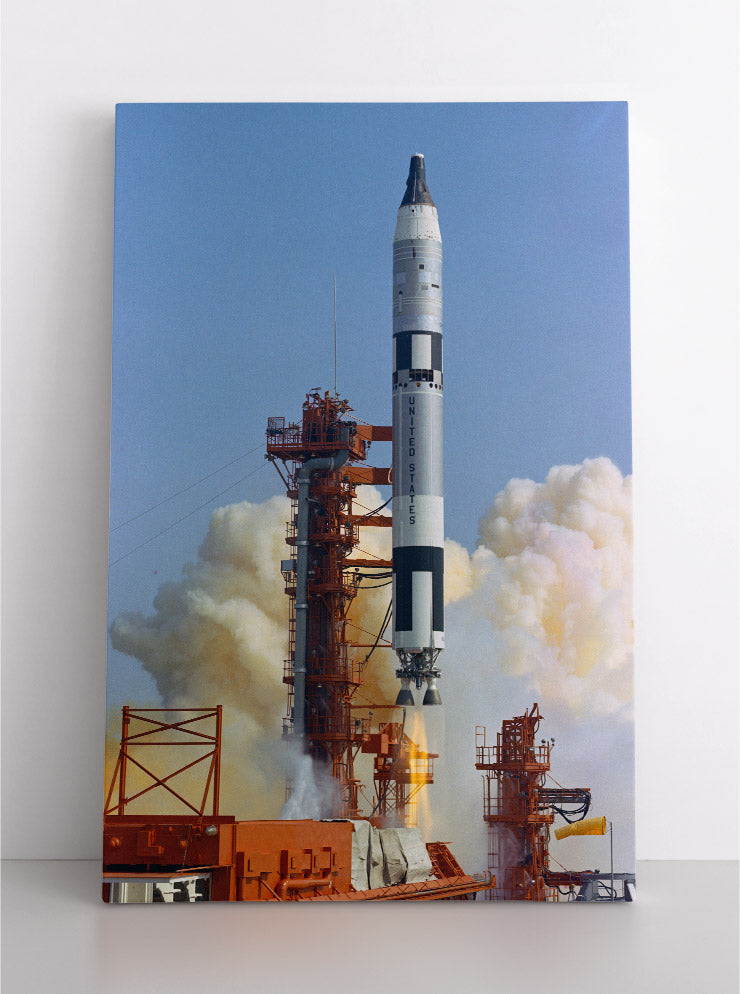Titan II Rocketship launching into space, NASA image. Canvas wall art in room.