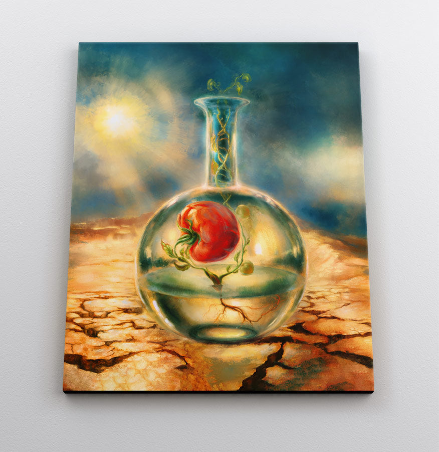 Surreal fantasy painting of a tomato plant growing in a test tube in the desert. Canvas wall art in room.