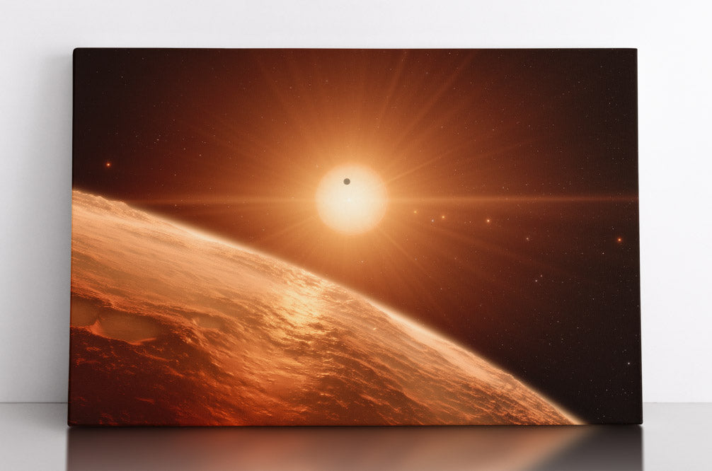 Alien solar system in outer space, artist illustration of Trappist-1. Canvas wall art in room.