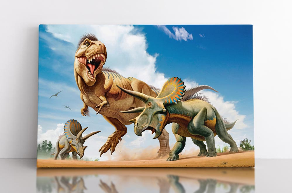 TRICERATOPS, canvas art in room. Two triceratops dinosaurs battle against a huge T-rex.