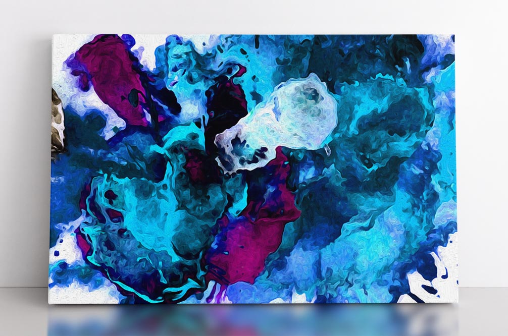 TURBULENCE, canvas art in room. Abstract wall art featuring striking blues with strong purple accents on white background.