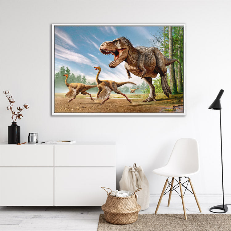 Tyrannosaurus rex chases Struthiomimus dinosaurs, framed canvas art in lounge room.