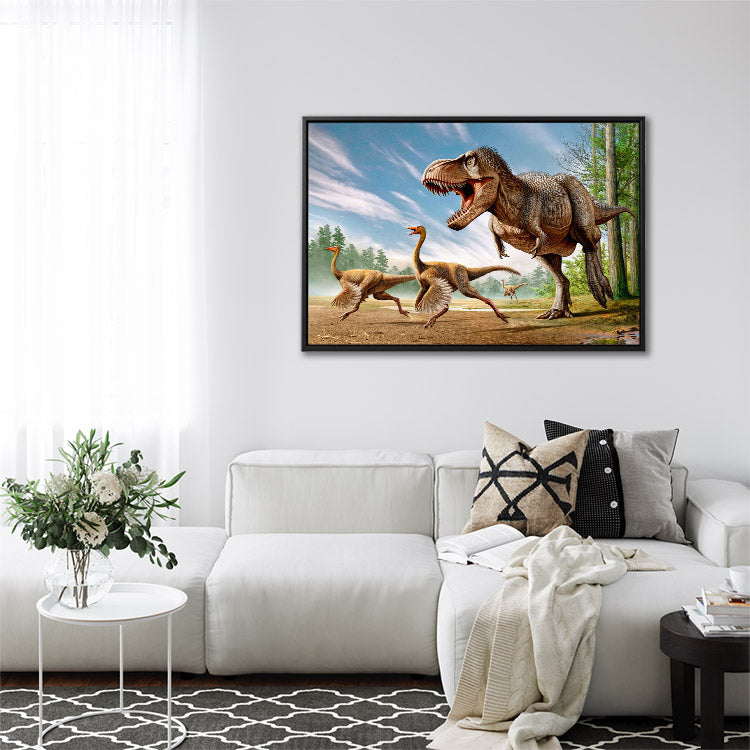 Tyrannosaurus rex hunting two Struthiomimus dinosaurs, framed canvas wall art in living room.