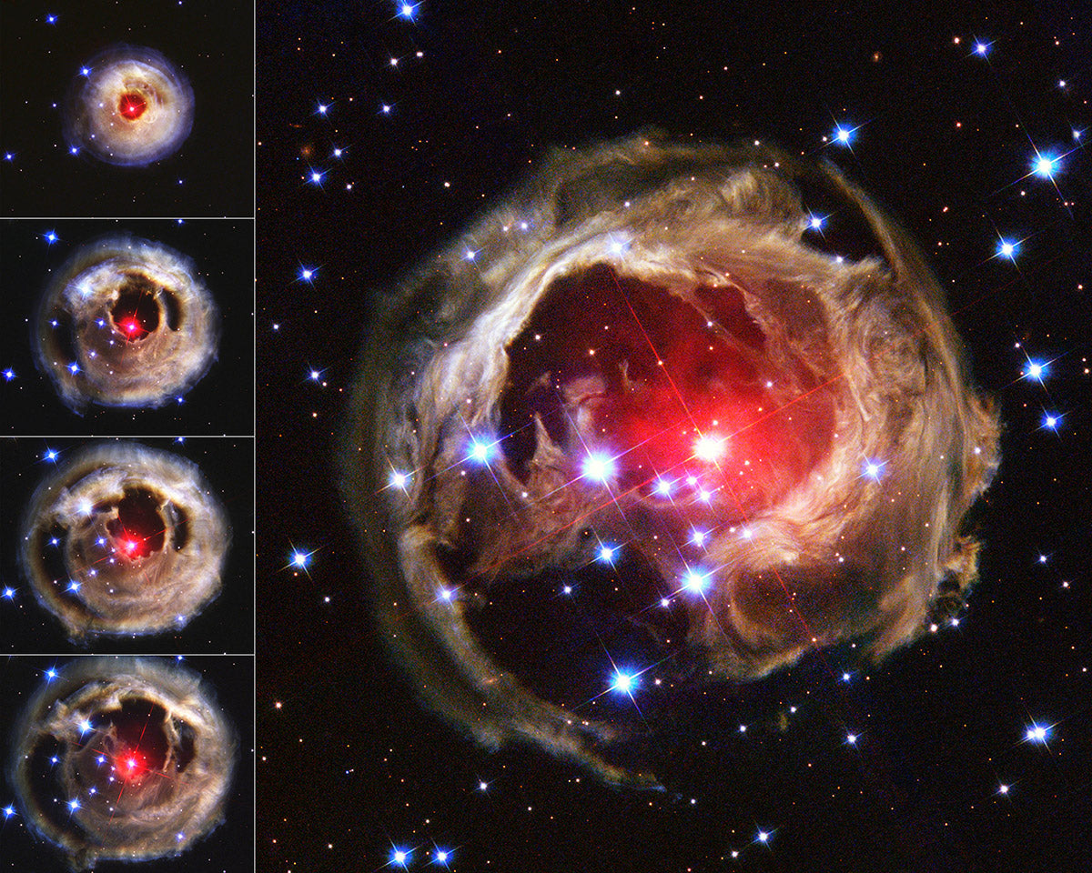 V838 Monocerotis light echo image series, as photographed by the Hubble Telescope.
