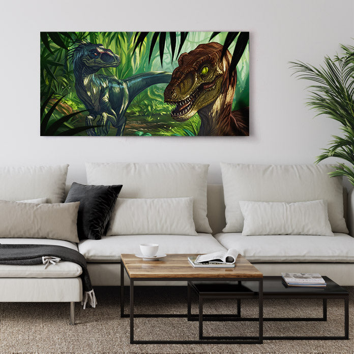 Velociraptor dinosaurs hunting in shaded jungle, canvas wall art in living room.