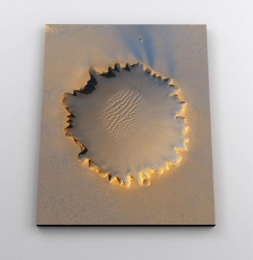 Victoria Crater on Mars, close-up satellite image. Canvas wall art in room.