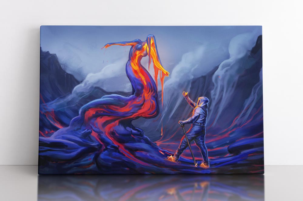Volcano woman made of lava reaches out to volcanologist. Canvas wall art in room.
