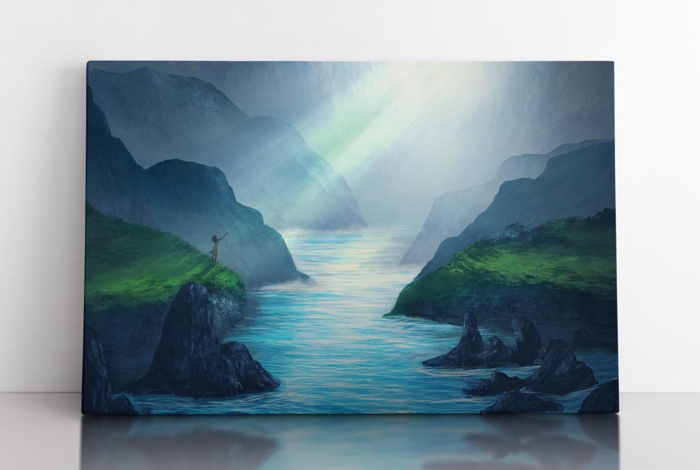 Water landscape scene with sunlight beams entering cave & shining on woman. Canvas wall art in room.