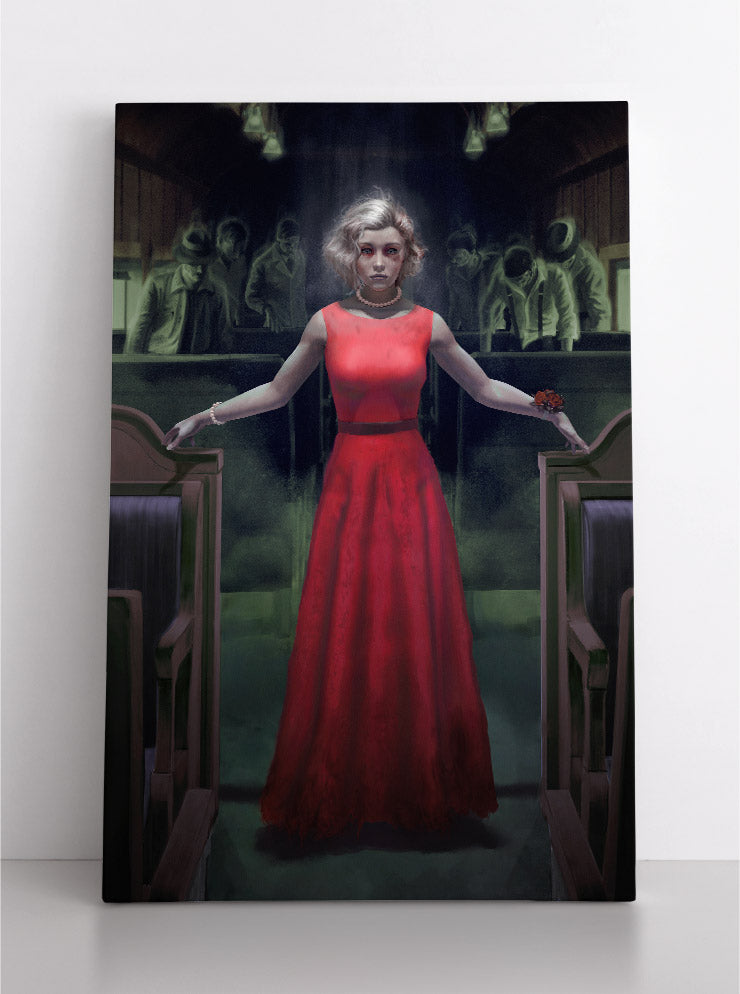 Blonde woman in red dress rides haunted traincar full of spooky ghosts and spirits. Canvas wall art in room.