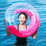 Inflatable Giant Pink Party Feathers Ring