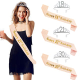 Adult Birthday 18th, 21st, 30th, 40th, 50th Satin Sash & Crystal Crown Tiara