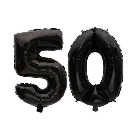 Big Birthday Black Foil Balloons for 16th, 18th, 30th, 40th, 50th and 60th Birthdays