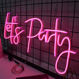 Let's Party 3D Pink Waterproof Neon Light