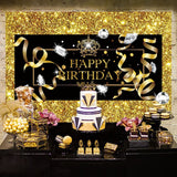 Black Gold Birthday Decoration Wall Backdrop