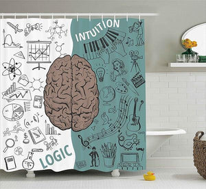 Shower Curtain Funny Science Chemistry Geometry Math Genius Themed Waterproof Polyester Bathroom Decorative Curtains