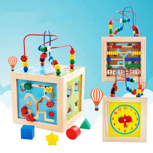 5 In 1 Baby Wooden Toys Colorful Playing Funny Large Beads for Kids Math Education