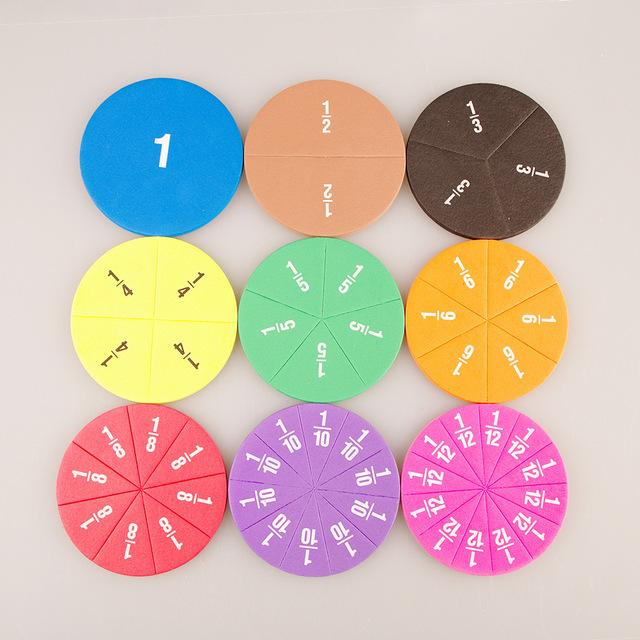 51pcs Rainbow Circles Numbered Fractions Counting Chips Educational Math Material