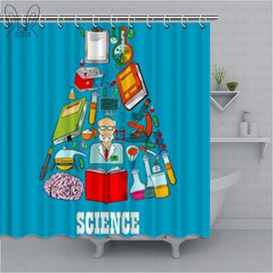 Geometric Math Chemistry Formula Print Shower Curtain Waterproof Polyester Fabric Bathroom Shower Curtain Home Decor Shower Sets