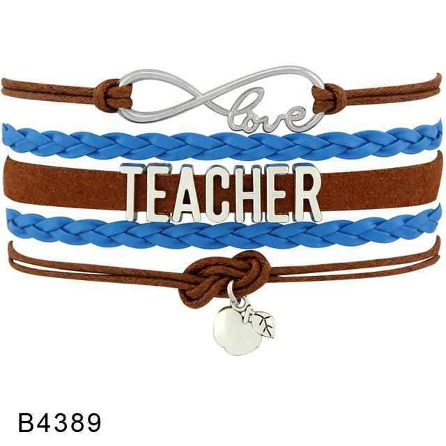 Infinity Love to Teach Gift for Teachers Kindergarten Science Special Needs Math Teacher Assistant Leather Bracelets for Women