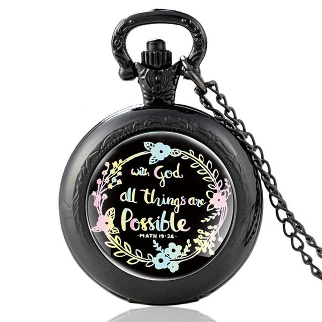 Bible Quote Faith Quartz Pocket Watch Necklace Christian Party Gift
