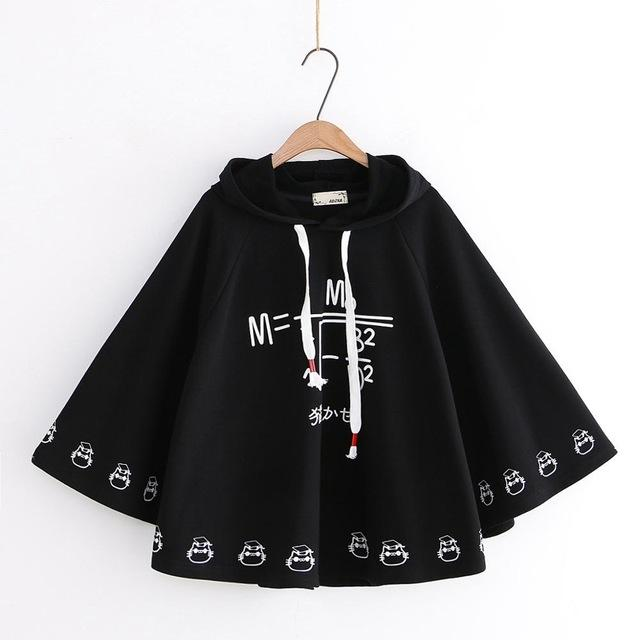 Math Formula Print Hooded Loose Cape Shawl for Women Long Sleeve Pullovers Femme Harajuku White Hoodies