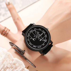 Women Man Quartz Leather Watch with Math Formula Prints Fashion Wrist Watch for Couple