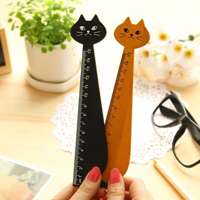 Black Yellow Cute Cat Shape Wood Ruler Math Learning Brain Teaser Gift for Kids 15cm